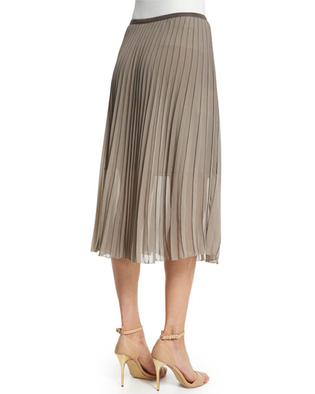 Accordion-Pleated Chiffon Midi Skirt