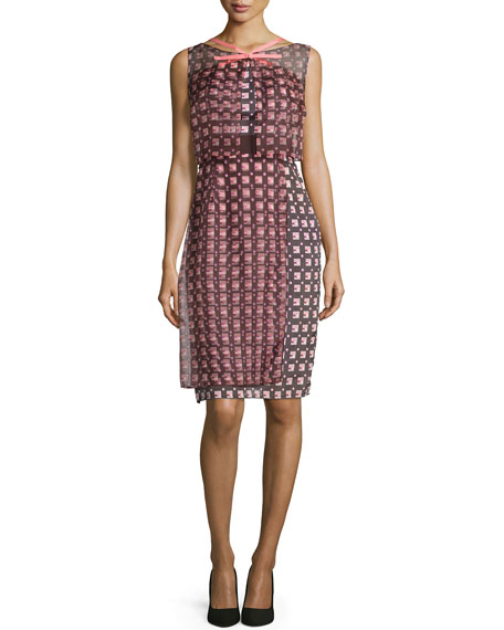 Carolina Herrera Sleeveless Geometric-Print Dress, Smoky Umber