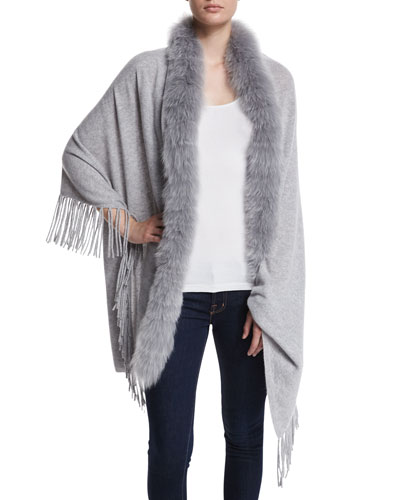 Cashmere Shawl with Fur Trim