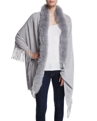 Cashmere Shawl with Fur Trim