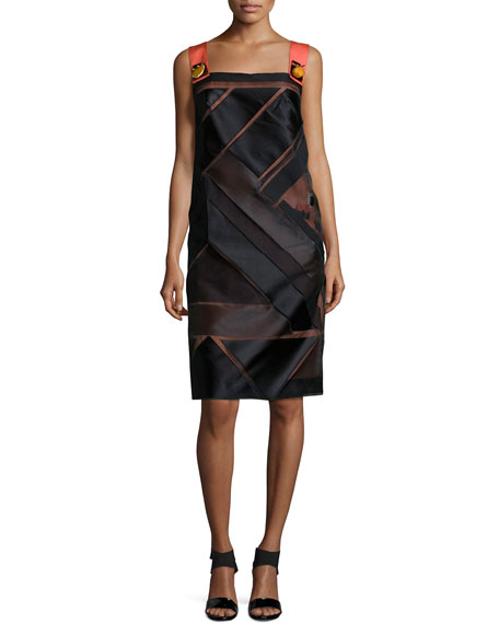 Carolina Herrera Sleeveless Geometric Cocktail Dress, Pink/Black