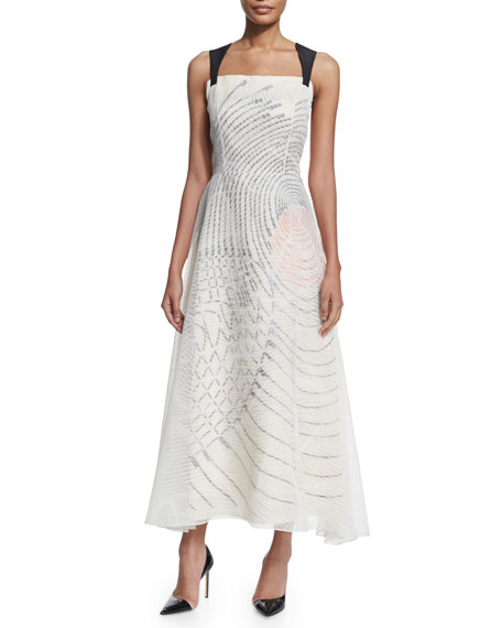 Carolina Herrera Sleeveless Embroidered Midi Gown, White