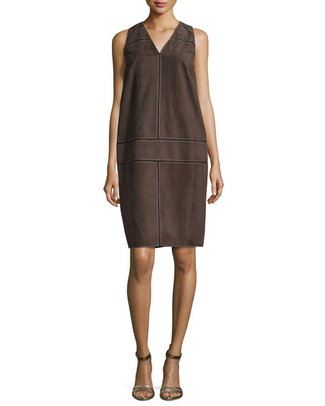 Carolina Herrera Sleeveless V-Neck Suede Shift Dress, Smoky