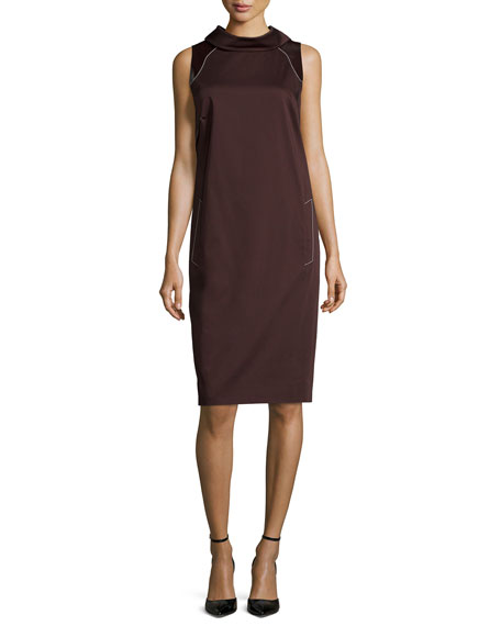 Carolina Herrera Sleeveless Contrast-Stitching Sheath Dress,