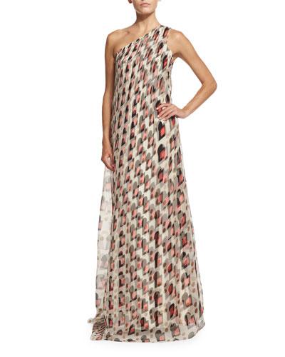 Carolina Herrera One-Shoulder Draped Gown, Pink/Sand Multi
