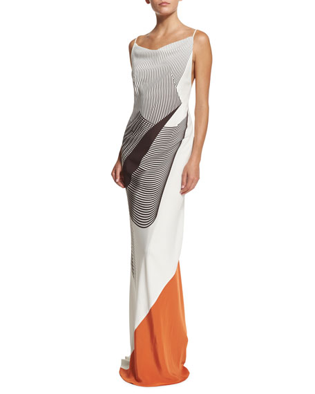 Carolina Herrera Sleeveless Spiral-Print Cady Gown, Smoky