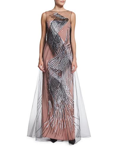 Carolina Herrera Strapless Embellished-Overlay Gown, Sand