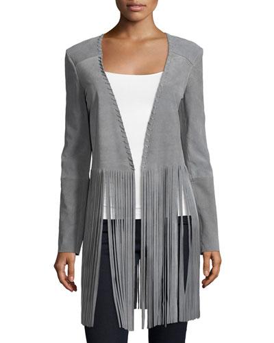 Christy Open-Front Fringe Jacket, Light Gray