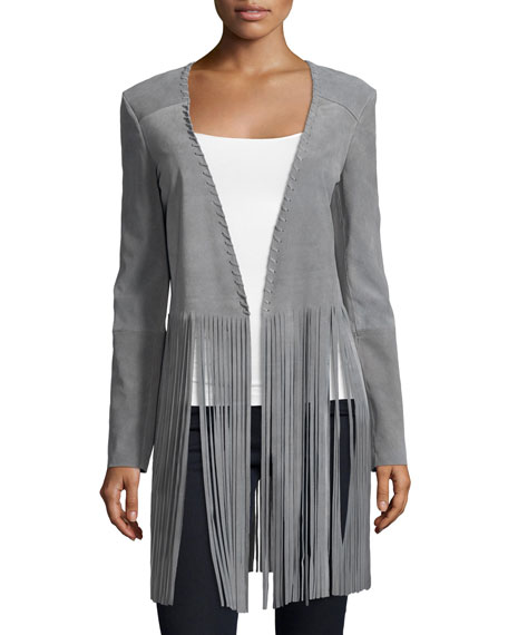 ThePerfext Christy Open-Front Fringe Jacket, Light Gray