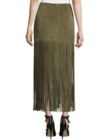 theperfext mimi maxi skirt w fringe army green