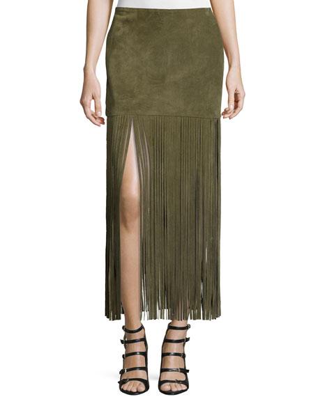 ThePerfext Mimi Maxi Skirt W/Fringe, Army Green