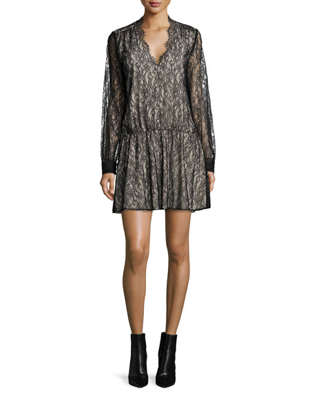Alice + Olivia Deena Lace Blouson Dress, Black/Brown