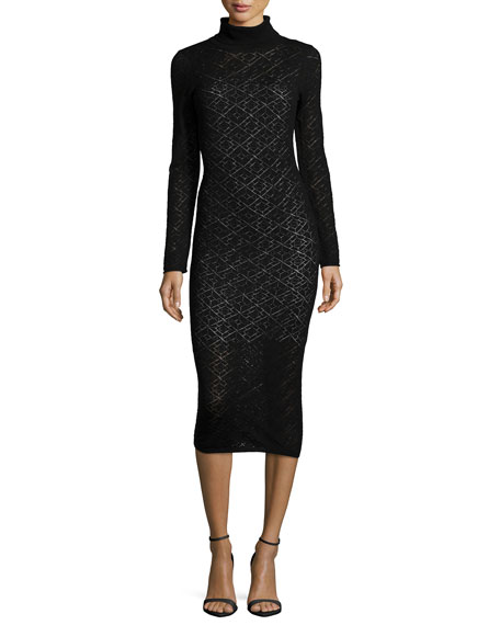 Alice + Olivia Fergie Turtleneck Midi Dress, Black