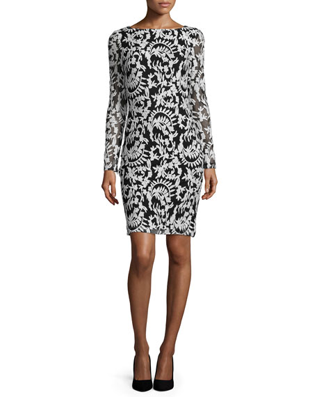 Alice + Olivia Katy Embroidered Sheath Dress, Black/White