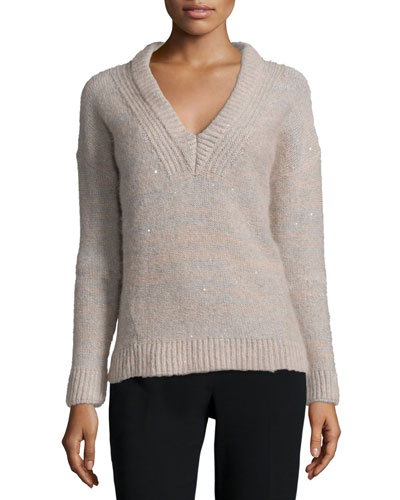 Melange Sparkled V-Neck Sweater