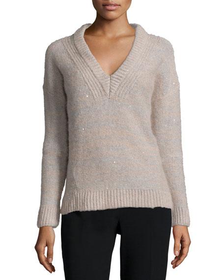 Peserico Melange Sparkled V-Neck Sweater