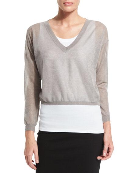 Peserico Two-Piece Sweater Set, White/Metallic Taupe