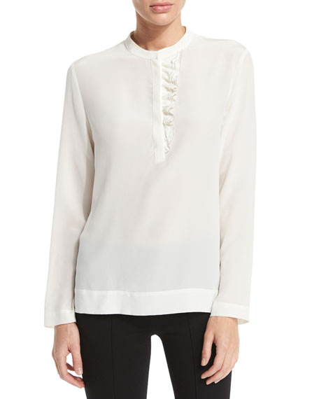 Peserico Long-Sleeve Ruffle-Front Top, Ivory