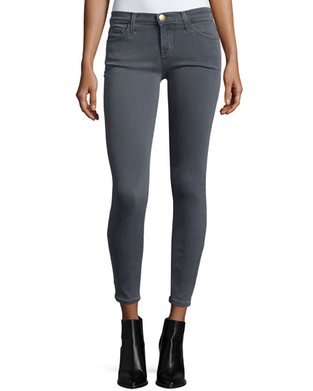 Current/Elliott The Stiletto Low-Rise Cropped Jeans, Gunmetal