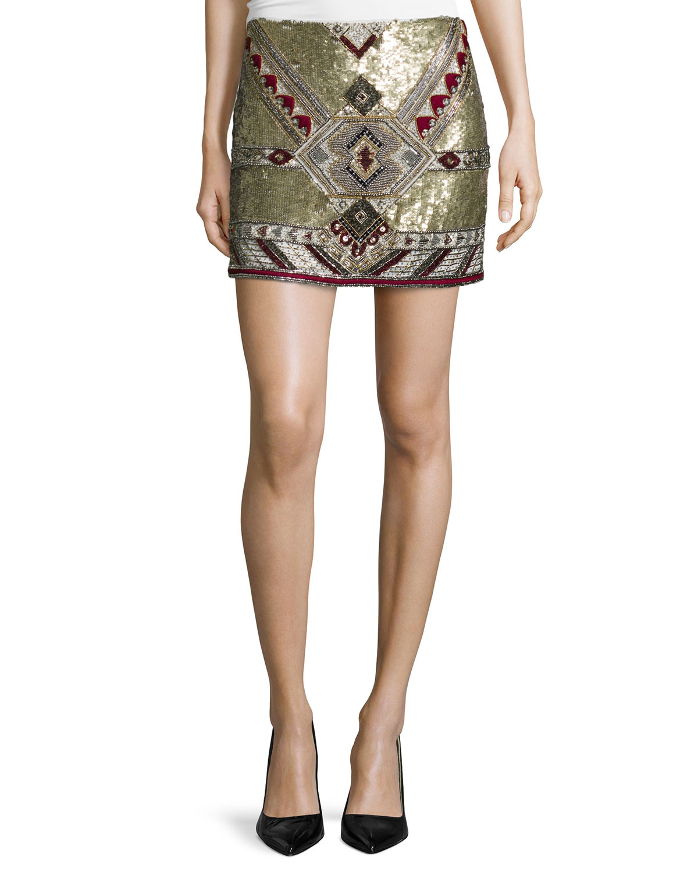 Skirts Women's Clothing Neiman Marcus Mirrored Embellished Skirt