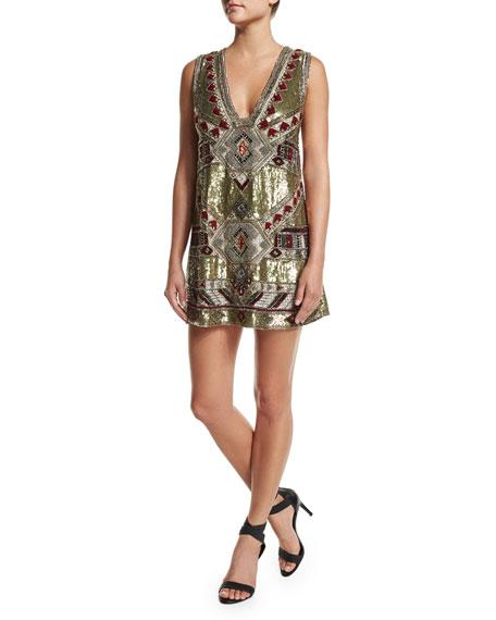 Alice + Olivia Odell Embellished Caftan Mini Dress,