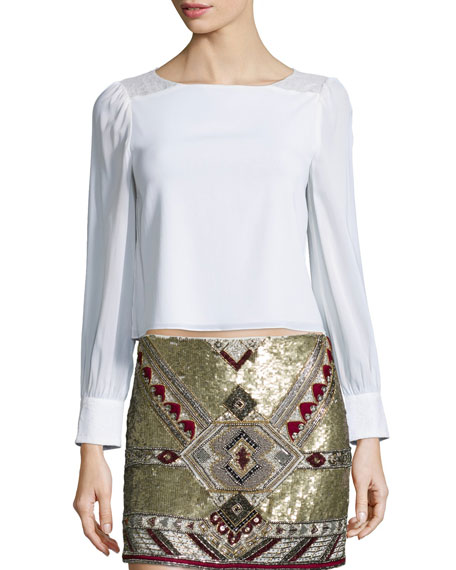 Alice + Olivia Bey Long-Sleeve Lace-Trim Blouse, Cream