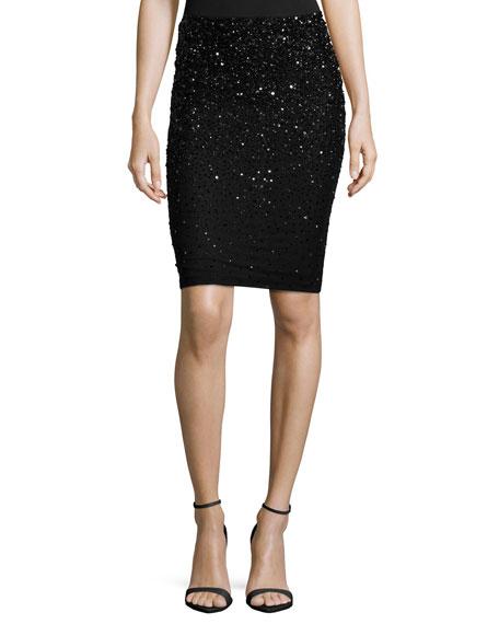 Alice + Olivia Ramos Embellished Pencil Skirt, Black
