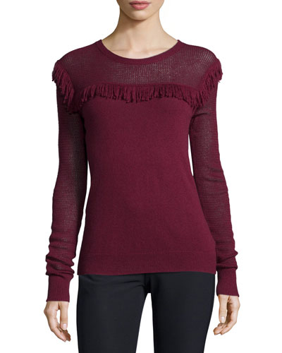 Long-Sleeve Mesh & Fringe Sweater, Oxblood