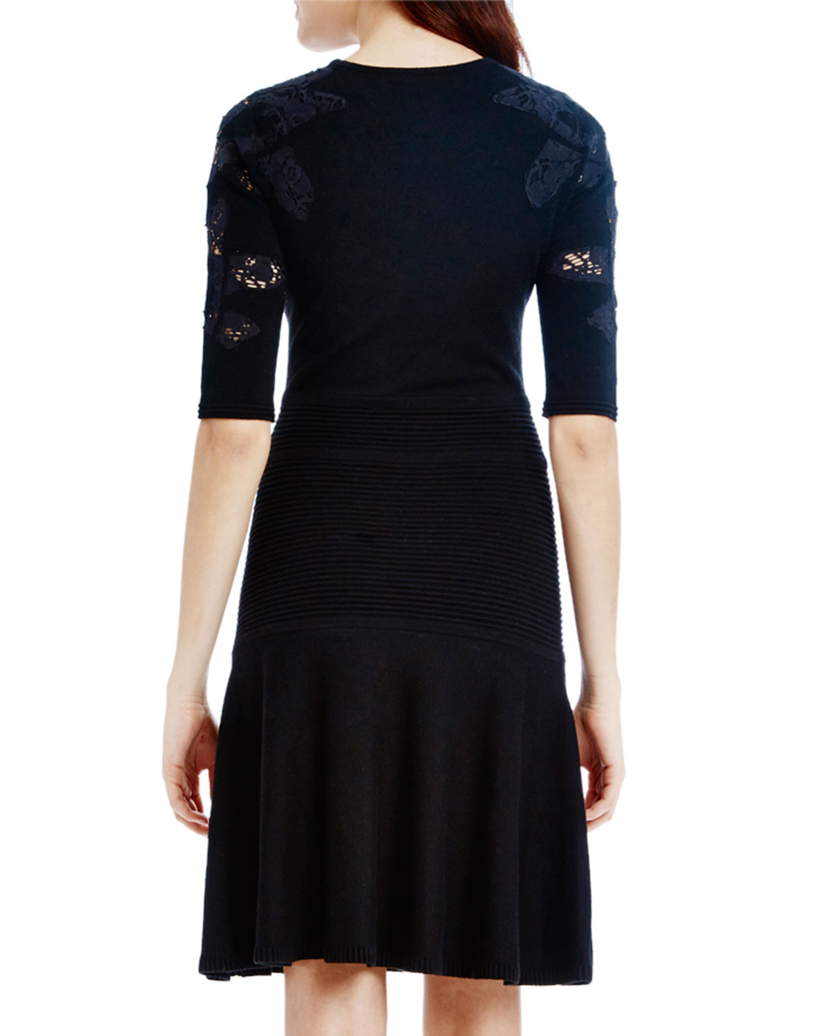 Raoul Woman Lace-paneled Merino Wool Dress Black Size L Raoul Low Price Fee Shipping Online Largest Supplier Cheap Price Affordable For Sale Buy Cheap Sale Official Site Online WhlokOmKW