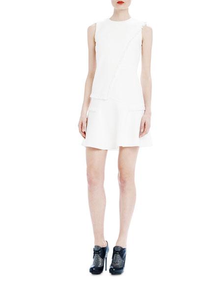 Raoul Ellery Fringed Wool Shift Dress, Quartz White