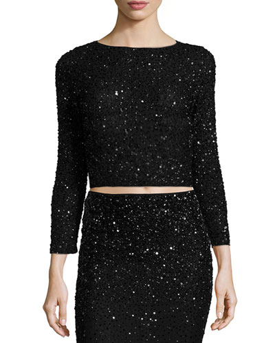 Lacey Embellished Bracelet-Sleeve Crop Top, Black