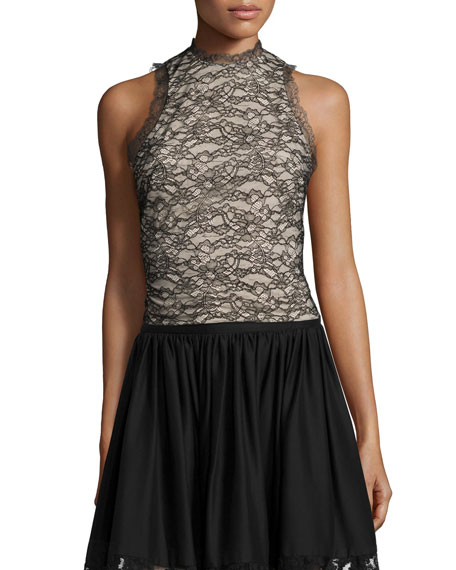 Alice + Olivia Emery Lace Mock-Neck Top, Black/Brown