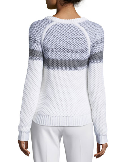 Larus Striped Jewel-Neck Sweater, Ivory/Heather Gray