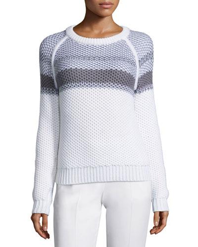Larus Striped Jewel-Neck Sweater, Ivory/Heather Gray