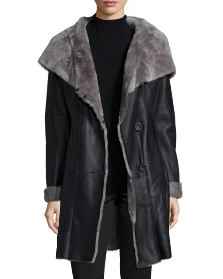 Nappato-Finish Shearling Fur Parka, Gray