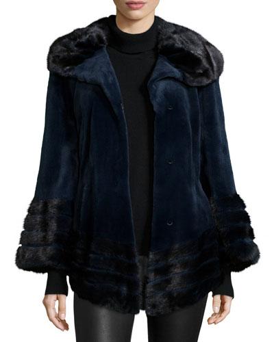 Sheared Mink Fur Jacket, Navy