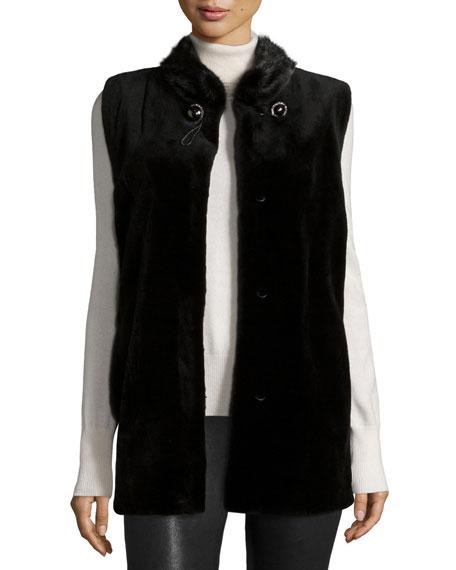 Sheared Mink Vest W/Collar, Black
