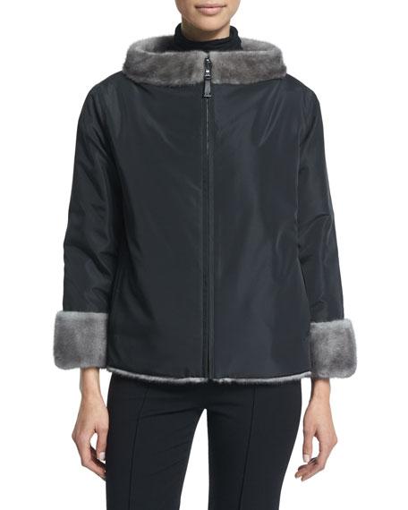 Zip-Front Reversible Fur Jacket, Blue Iris