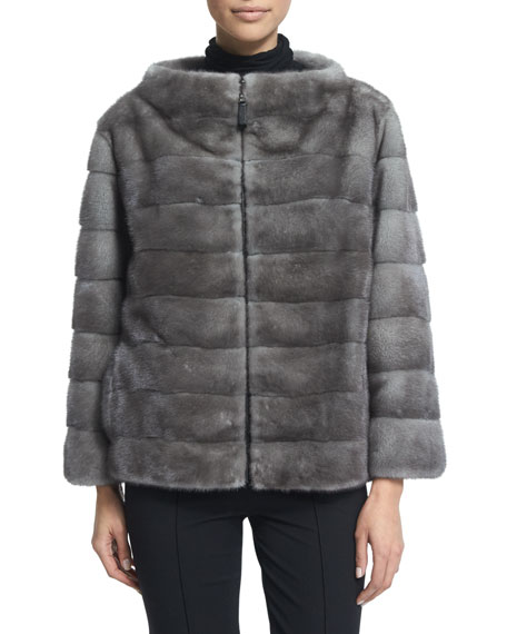 J. Mendel Zip-Front Reversible Fur Jacket, Blue Iris