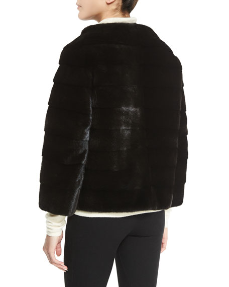 Zip-Front Reversible Mink Fur Jacket, Black