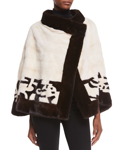 Mink Fur Jacket W/Intarsia Detail, Dark Brown