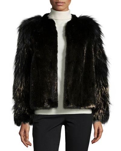 Metallic Mink & Fox Fur Jacket, Black/Gold