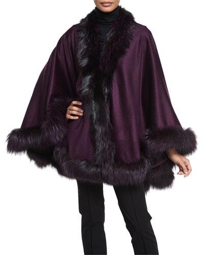Cashmere Cape with Fox Fur Trim, Aubergine