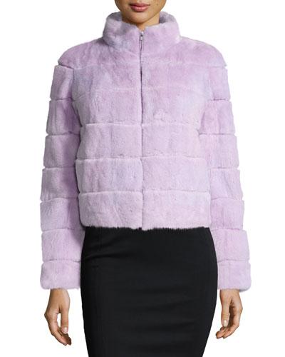 Mink Fur Zip Jacket, Lavender