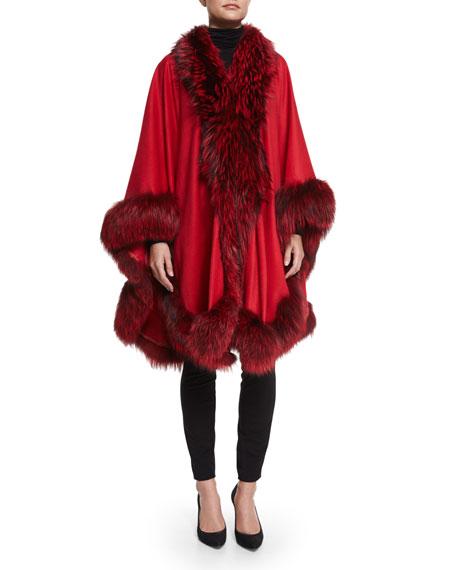 Cashmere Maxi Cape W/Fur Trim, Red