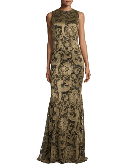Alice + Olivia Roxie Floral-Lace Diamond-Back Gown, Bronze
