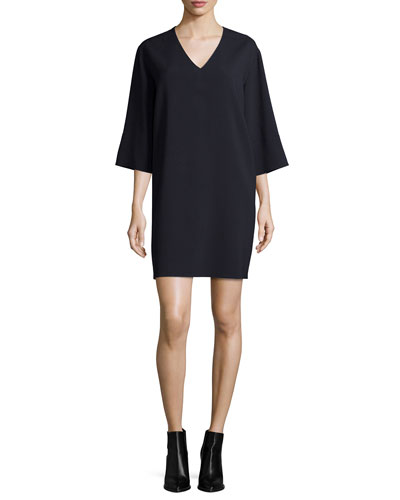 Textured Quarter-Sleeve Shift Dress