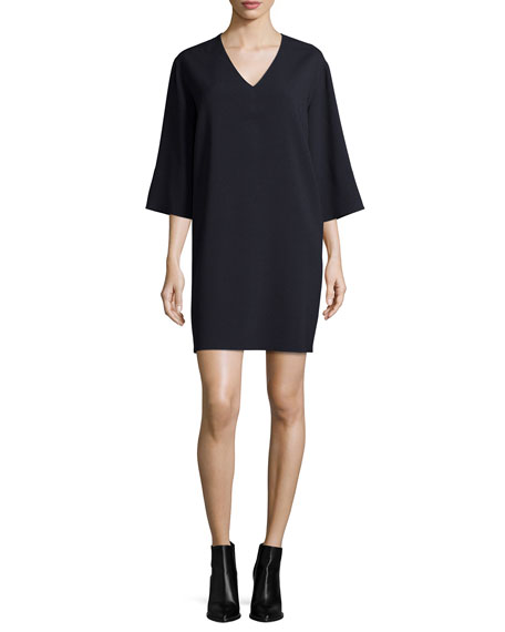 Vince Textured Quarter-Sleeve Shift Dress