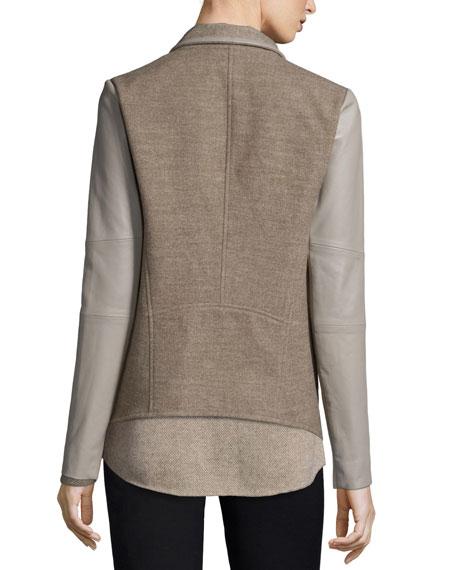 Mixed-Media Draped Jacket