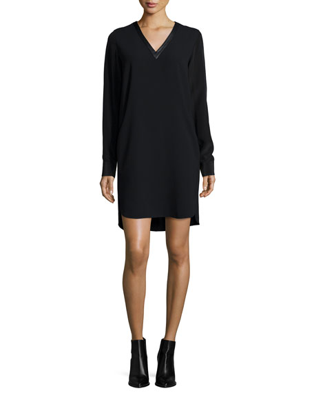 Vince Long-Sleeve Mixed Media V-Neck Dress